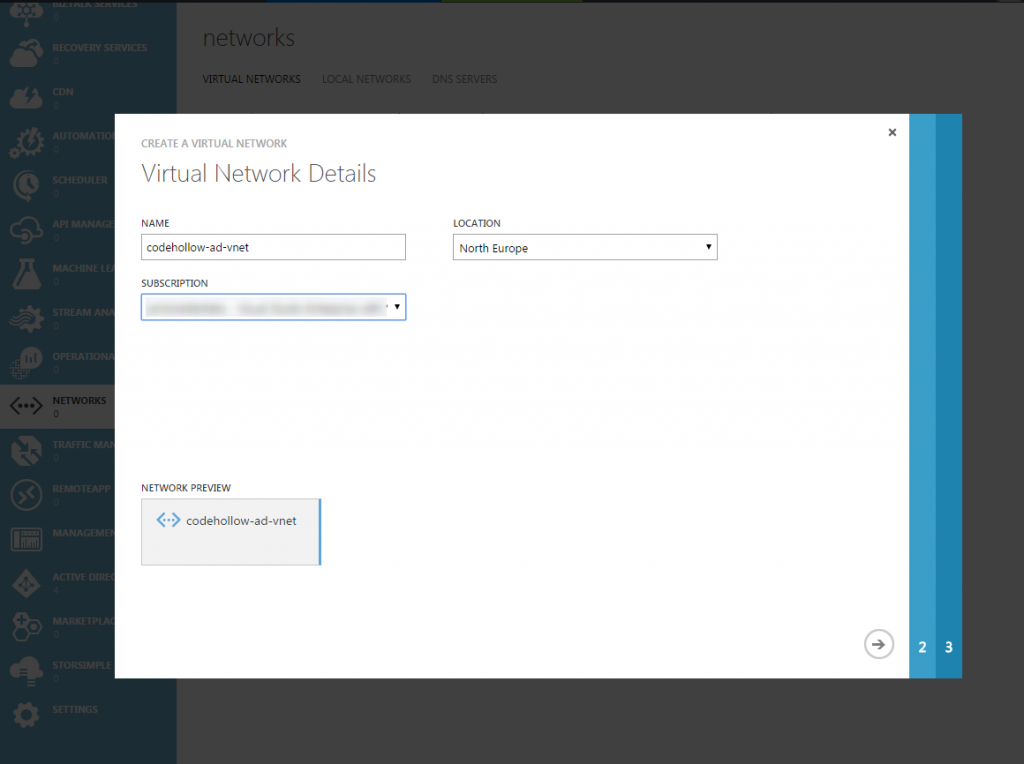 Add virtual network
