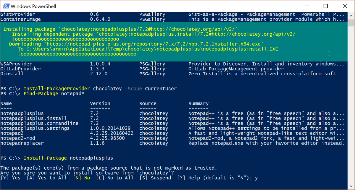 Powershell package management - NuGet, Chocolatey and Co